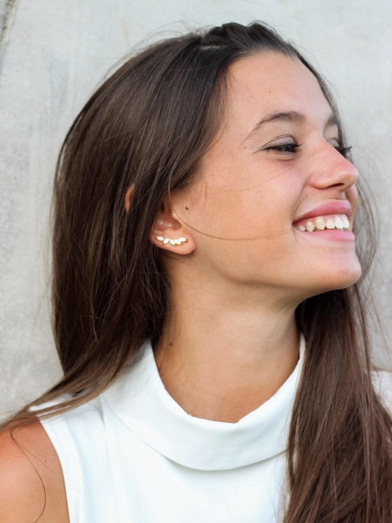 Dainty earrings white stone ear climber ear crawlers minimalist ear climbers gold earrings Minimalist jewelry