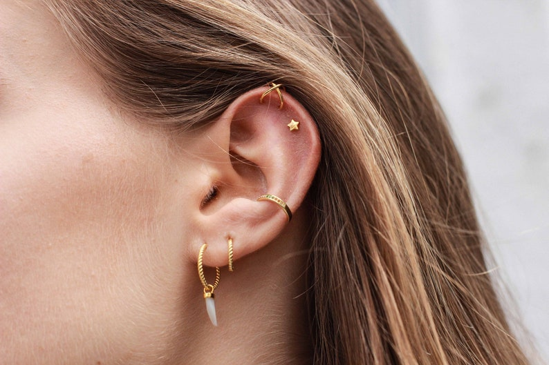 Crystal Rainbow Ear Cuff Rainbow pave ear cuff multicolour earcuff Rainbow midi ear cuff Sterling Silver Single Row Ear Cuff