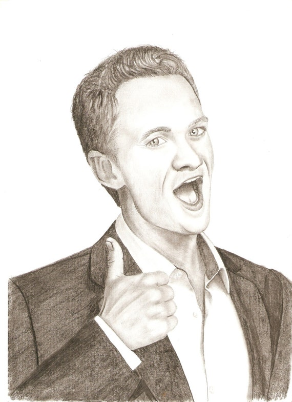 Items Similar To Barney Stinson Pencil Drawing On Etsy