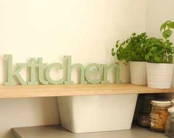 Free standing letters KITCHEN sign, Hand painted wooden letters for kitchen, Soft pastel colors, Choose your color, Kitchen olive green