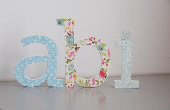 Standing Wooden Letter Name Hand Painted And Decorated Wooden Letters For Nursery Room Alphabet Wall Ideas Girls Nursery Ideas