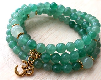 Green Aventurine Mala 108 Beads Mala Necklace, Japa Mala, Om Necklace, Yoga Jewelry, Energy Jewelry -  Well Being & Prosperity