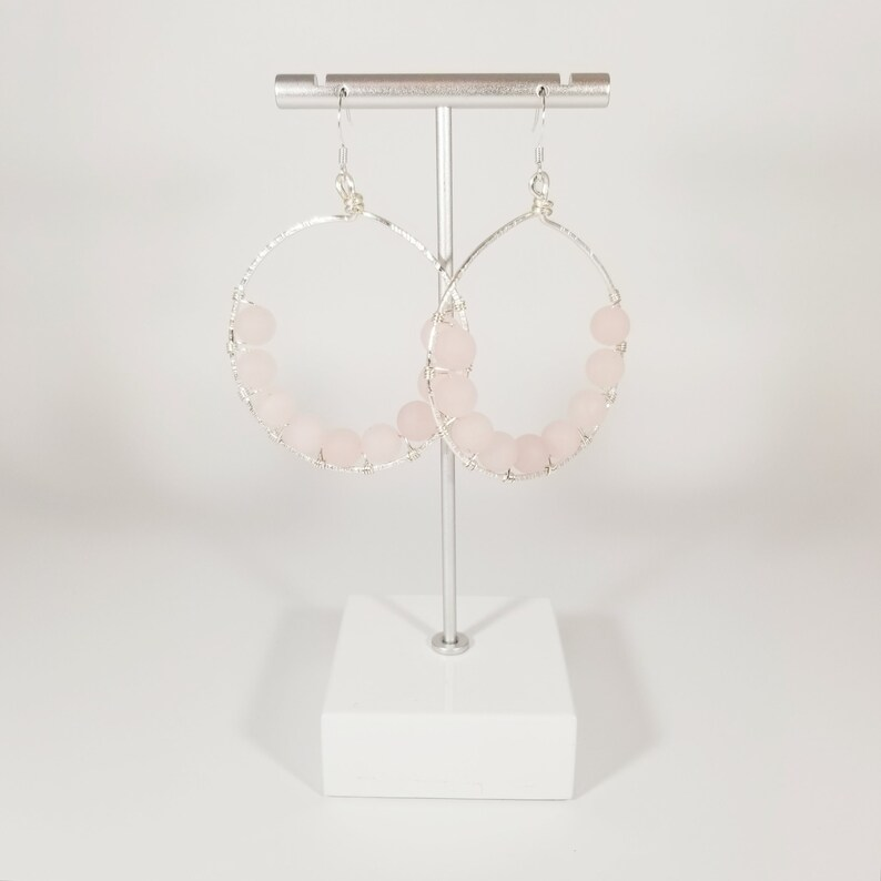 boho hand forged bohemian handmade pink beads pink earring textured wire Rose quartz beaded hoops on silver wire pink and silver