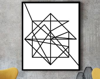 Wire, modern art, minimalist poster, art print, abstract geometric, art poster, minimalist art, abstract art, large wall art, black white