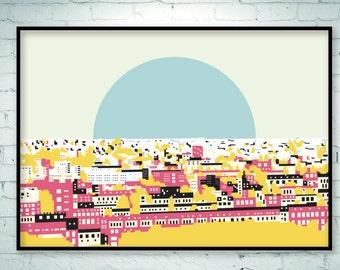 Pop art print, pop art poster, pop art, urban art, city landcape, city skyline, city view, city print, rooftop view, urban design, giclee