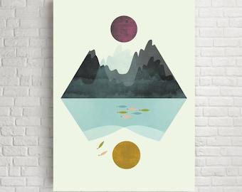 Minimalist art, minimalist print, minimalist wall art,  wall art, modern art, modern print, modern poster, landscape print, room decor, art