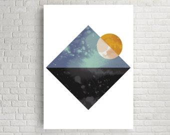 Wall art, wall art prints, art prints, giclee art print, geometric wall art, geometric wall art print, geometric print, wall print, sea, sun