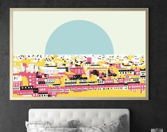 Pop art print, pop art poster, pop art, urban art, city landscape, city skyline, city view, city print, rooftop view, urban design, giclee