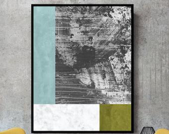 Large abstract print, grey prints, geometric wall art, large art, grey wall art, grey and gold, grey and yellow wall art, abstract, poster