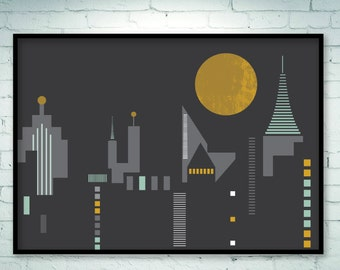 City scape, city prints, city skyline, city art, urban art poster, horizontal print skyline, urban print, horizontal wall art