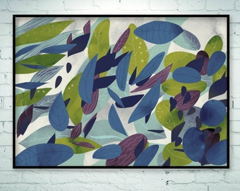 Large abstract art, Botanical art, art painting, nature prints, modern landscape painting, foliage, leaves, horizontal print, large print