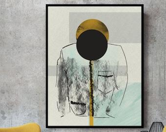 Abstract print, abstract wall art, sketch art, contemporary art, sketch print, geometric art, large print, modern print, ochre, sketch, art