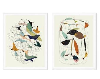 Art print set, set of 2, mid century modern, mid century modern art, mid century modern decor, prints set, abstract art, abstract prints set