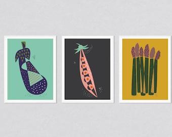 Prints set, prints set of 3, kitchen prints set, modern art set, kitchen prints, kitchen art, kitchen wall art, wall art set, mid century
