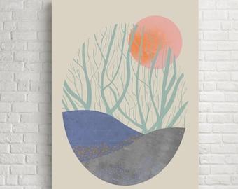 Modern art, modern wall art, modern prints, modern art print, modern wall decor, modern print, trees, landscape print, orchard, nature art