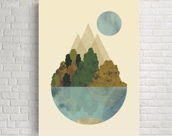 Wall art, abstract wall art, minimalist art, home decor, wall decor, modern art, modern print, large wall decor, four seasons, nature art