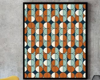 Pattern print, pattern art, geometric pattern, retro wall art, mid century print, retro print, retro poster, retro art, retro patterns