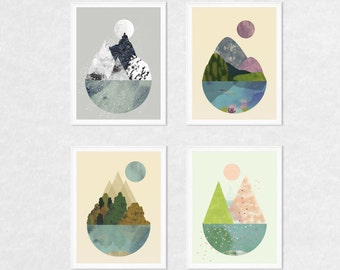 Art prints, wall art prints, art set, nature prints, set of 4 prints, 4 seasons wall art, print set, nature wall art, nature wall decor, art