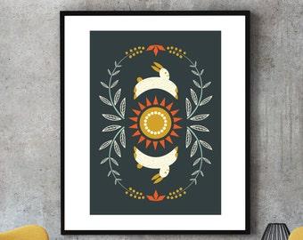 Happy bunny, giclee print, folk art print, living room wall art, wall decor, motivational print, prints illustrations, modern art, wall art