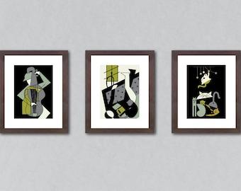 Set of 3 prints, set of prints, art print set, art prints, wall decor, home decor, cat print, music print, books print, music lover gift.