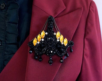Chandelier black and gold gothic lolita brooch / ouji brooch