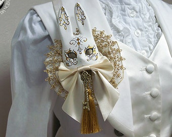 Ivory and gold Masquerade bunny brooch -PREORDER