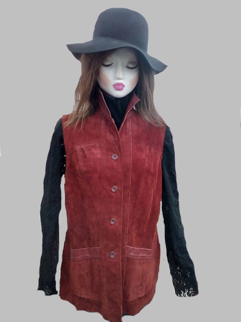 Vintage Suede and Leather Gilet now reduced price !! 1960/'s