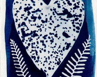 6x9 Heart and Ferns Cyanotype