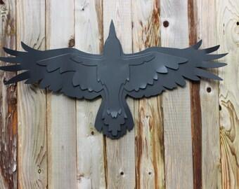 Free Shipping!, Steel Crow Sculpture, Raven Garden Sculpture, Flying Raven, Raven Decoration, Matt Black, Yard Art, Raven
