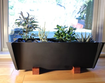 Free Shipping!, Modern Planter in Steel and Wood, Contemporary Planter, Steel Planter, Rectangular Planter, Cubist Origami