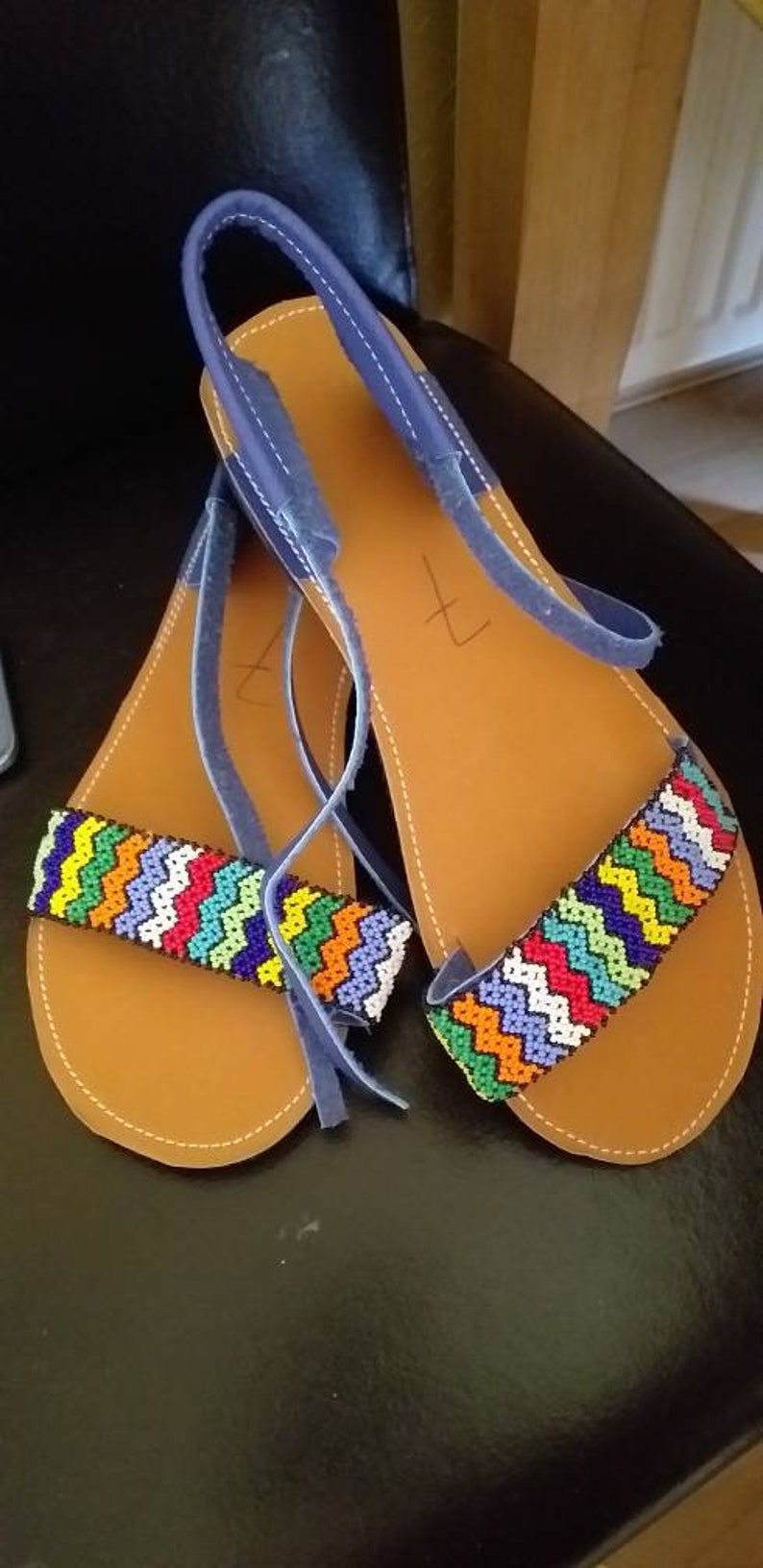 Handmade Genuine leather beaded sandals in Zulu beads.