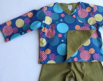 Pyjama/kimono/all cotton kids round blue/khaki polka dot reversible T: 3 years