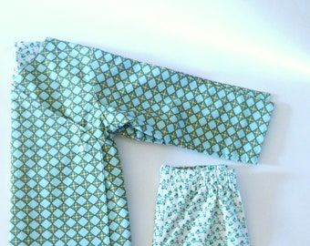 Set/Pajamas kimono cotton sky blue/green geometric scooters reversible T child: 5 years