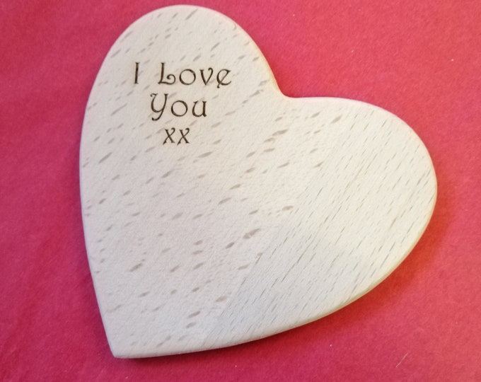 Heart Shaped Beech Wood Coaster Engraved with 'I Love You'