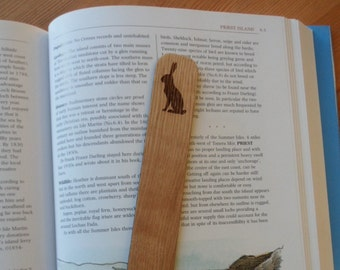 Hare Oak Bookmark, Laser Engraved Bookmarks, Wood Bookmarks, Gifts for Him, Gifts For her.