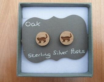 Oak Cat Stud Earrings, with Sterling Silver Backs.