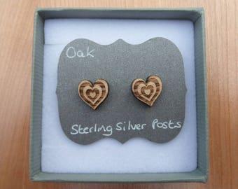 Oak Hearts within Heart Stud Earrings with Sterling Silver Backs.