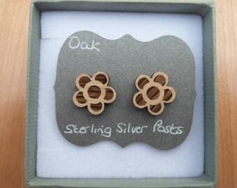 Oak Flower Stud Earrings, with Sterling Silver Backs.