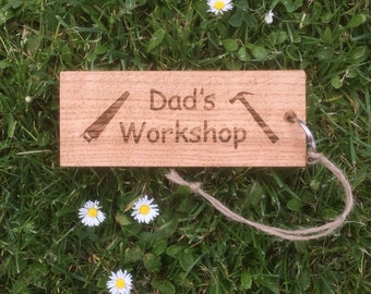 Dad's Workshop, Oversize Fun Oak Keyring with Saw & Hammer engraved upon it. Fathers Day Gift, Dad's Birthday, Dad's Key Fob, Handmade