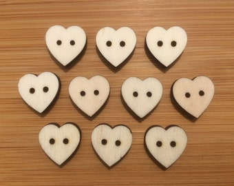 Wooden Heart Buttons, Packs of 10 or 20, Ideal For Sewing, Knitting, Crochet,  Crafting, Scrap Booking & Embellishments.