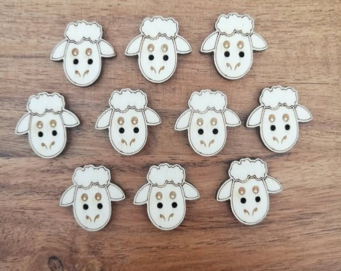 Wood Sheep Buttons, Pack of 5 or 10, Decorative Fun Buttons, Ideal for Sewing, Crafting, Scrap Booking, Embellishments.