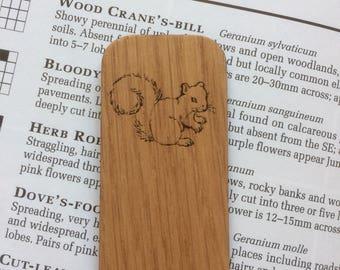 Grey Squirrel Oak Bookmark