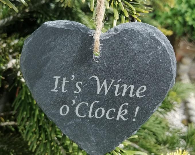 Wine o'Clock, Vodka o'Clock, Gin o'Clock & Prosecco o'Clock Slate Heart Coaster Hangings.