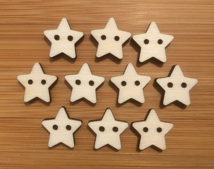 Wooden Star Buttons, Packs of 10 or 20, Decorative Fun Buttons, Ideal for Sewing, Crafting, Scrap Booking, Embellishments.