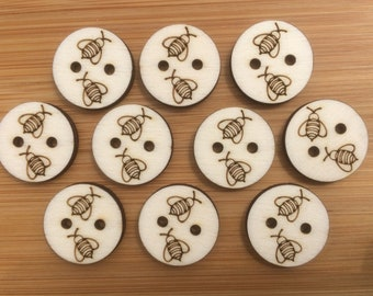 Bumble Bees Buttons, Pack of 5 or 10, Decorative Fun Buttons, Ideal for Sewing, Crafting, Scrap Booking, Embellishments.
