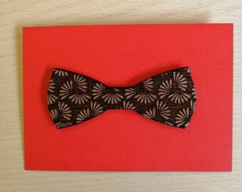 Beautifully Engraved Mahogany Bow Style Petal Brooch