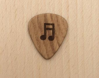Musical Note, Oak Guitar Pick, Engraved Guitar Pick, Plectrum.