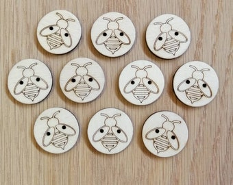 Bumble Bee (Single) Wood Buttons (pack of 5 or 10), Decorative Buttons, Cute Buttons
