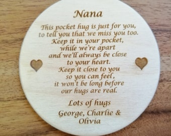 Personalised Pocket Hugs, Engraved with Either Mum, Grandma, Nana, Nanna, Grandad, Grandpa. Hand Finished.