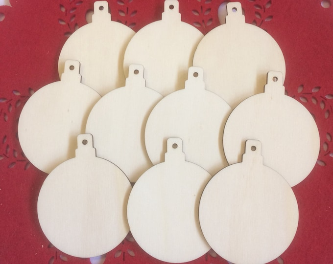 Birch Baubles Pack of 10, 7 cm x 8 cm,  Unfinished for Decoration, Decoupage, Crafting, Painting etc